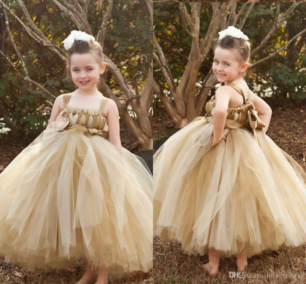 efeee6e311b Champagne Flower Girl Dresses For Wedding Ball Gown 2019 Spaghetti Tulle  Open Back Girls Party Dress For Special Occasion Teens Toddler Discount  Bridesmaid ...