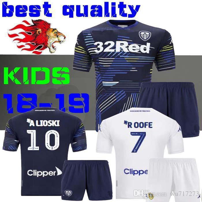 982ac5eb8 18 19 Leeds United Kids Kits Jerseys 2018 2019 Leeds Home Away Child Shirts  ALIOSKI JANSSON BAMFORD COOPER Boys Football Shirt Child Jersey Blue Online  with ...