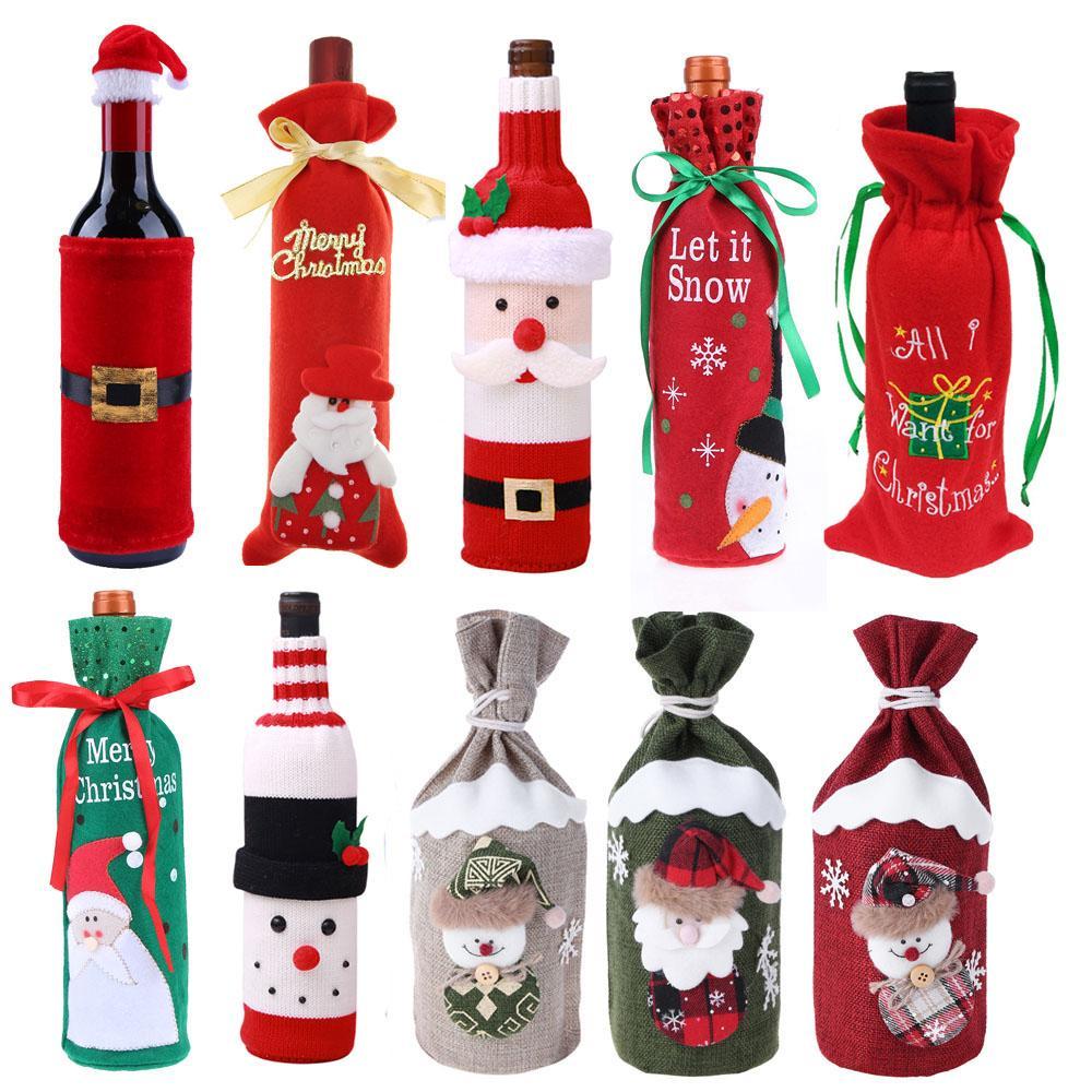 11 Types Christmas Wine Bottle Cover New Year Gift Bag Holder ...