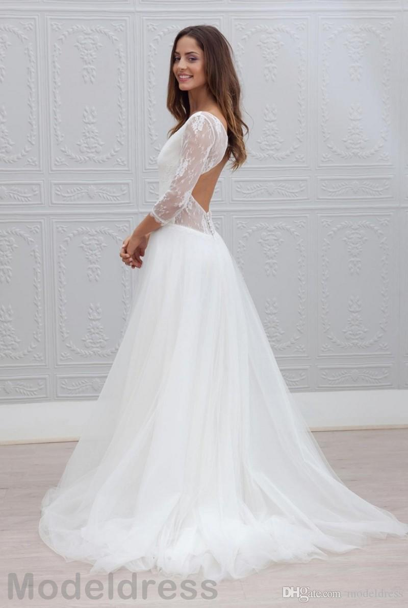 Beach Lace Wedding Dresses Ball Gown 2018 Cheap V-Neck Backless 3/4 Long Sleeve White Tulle Summer Bridal Gowns Boho Plus Size Custom Made