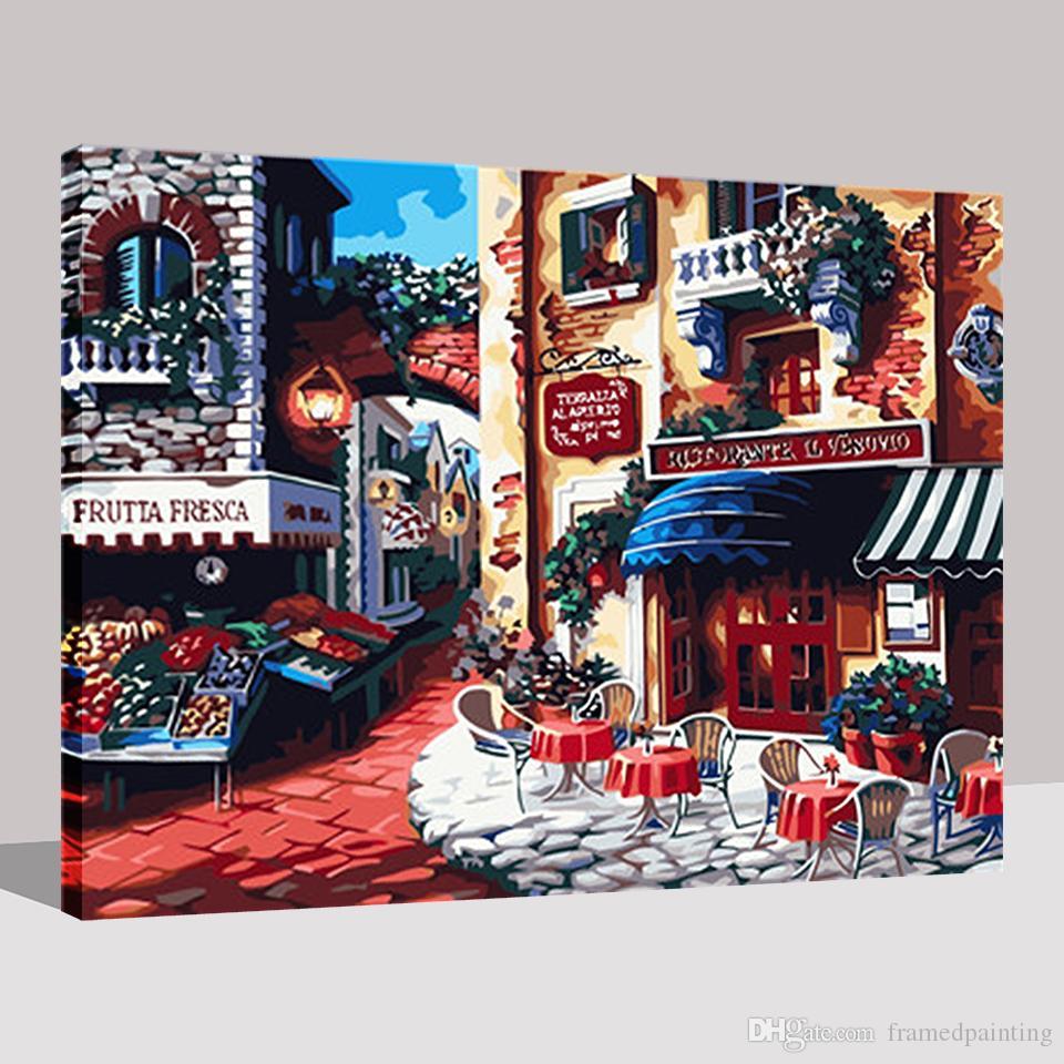 Кафе города Раннее утро DIY картина маслом By Numbers Рисование на холсте Home Decor Для наборы ручной раскраски Подарки