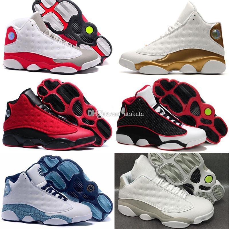 c01bb022f17123 Cheap 2018 High Quality Shoes 13 XIII 13s Men Basketball Shoes Women Bred  Black Brown White Hologram Flints Grey Sports Sneakers Size5.5 13 Shoe  Shops Cheap ...