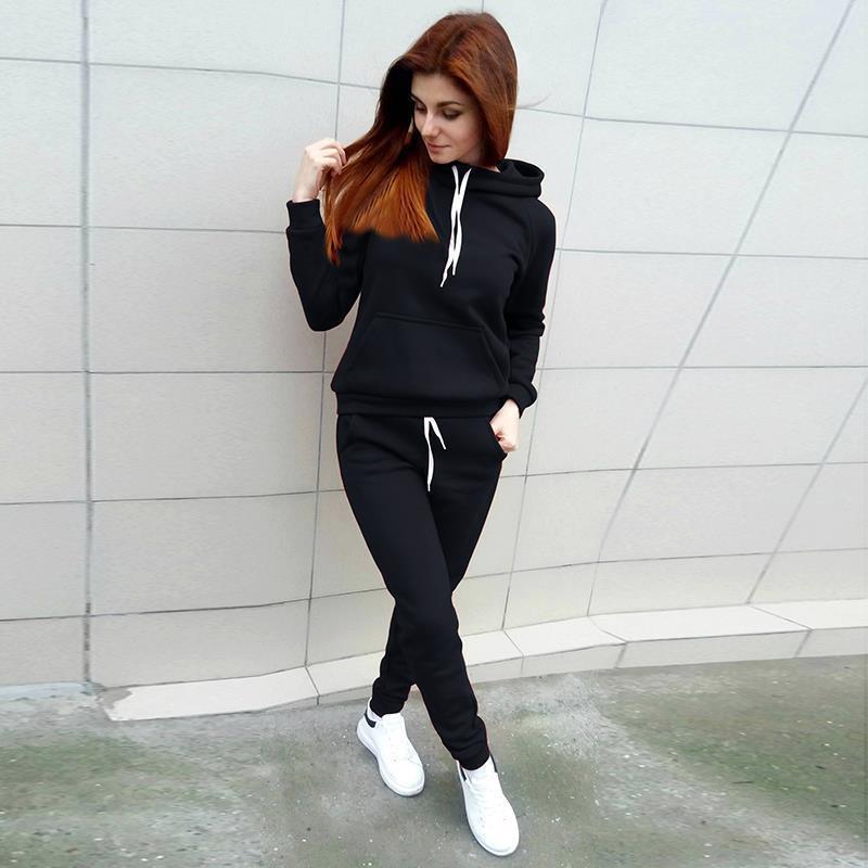 d160e3e41c25f Acheter Femmes Vêtements Ensemble De Mode Dames Survêtement Hoodies ...