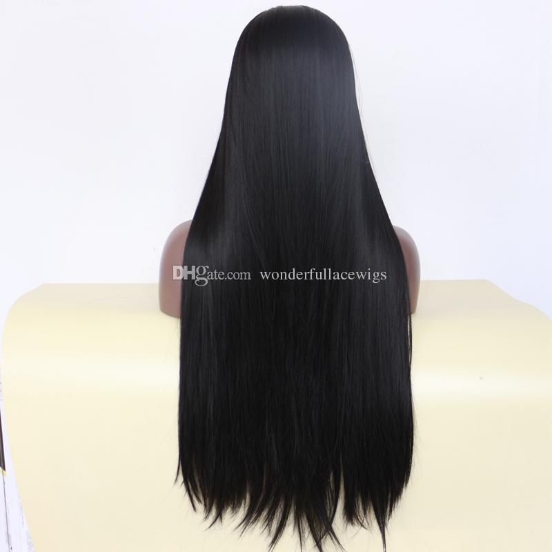 Натуральный черный 1b # длинные шелковистые прямые полные кружевные парики с детскими волосами термостойкие парики синтетические синтетические кружевные фронта для чернокожих женщин