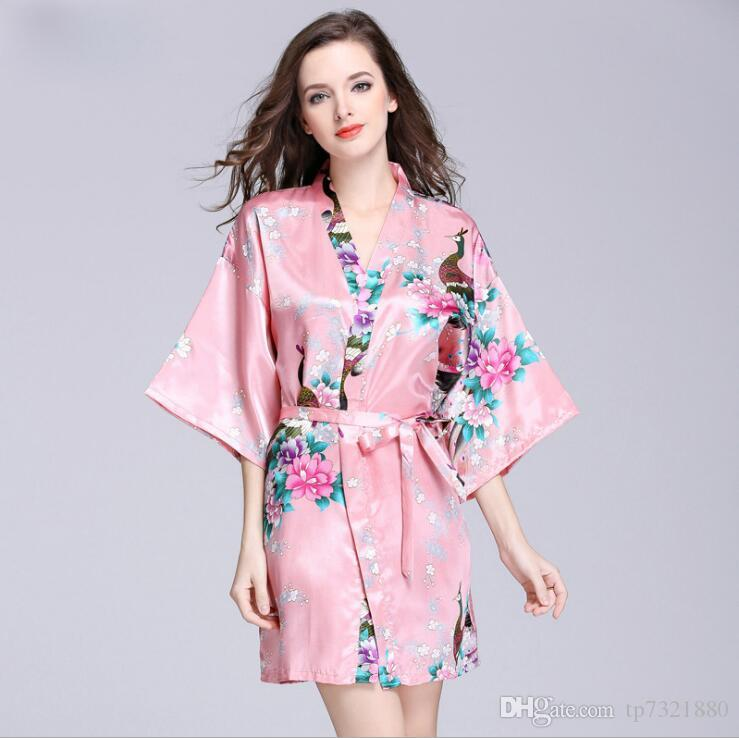 Ladies Bridesmaid Robes Imitation Silk Satin Bathrobe for Women Dressing  Gown Pink Peignoir Bath Robe Female Robe Femme SY027 10 Women s Dressing  Gown Women ... ba8f51049