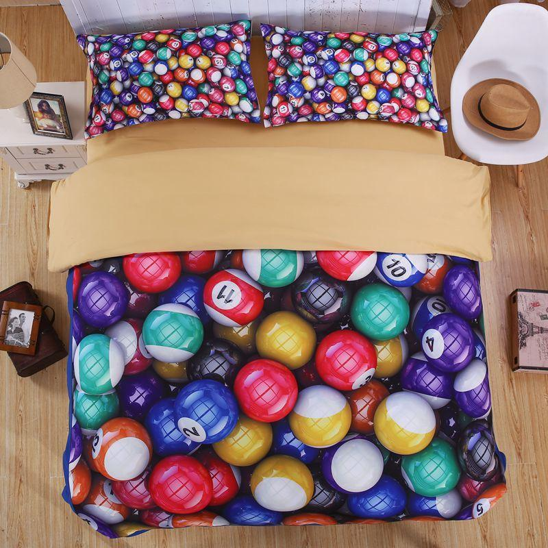 Colorful Printed Snooker Glow Bedding Set Linens Set Fabrics For Bed ...