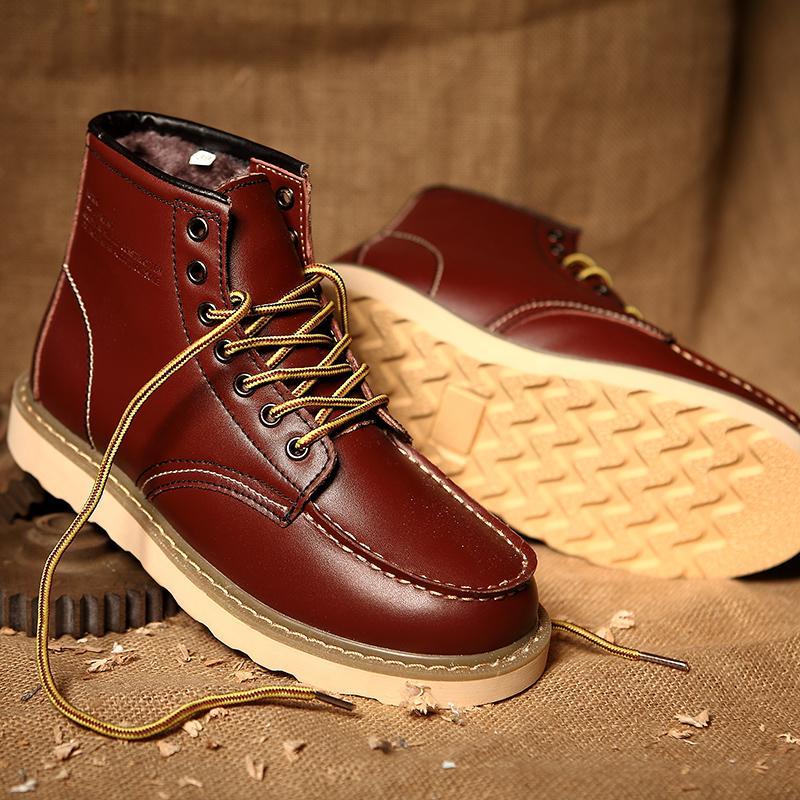 ff2970a33f APTESOL Classico da uomo in pelle di mucca stivali da lavoro scarpe di  sicurezza peluche tenere caldo invernale stivaletti per uomo Zapatos Hombre  ...