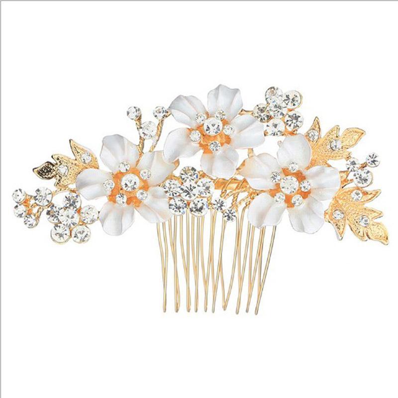 20 Unids Moda Novia Rhinestone Cristalino Blanco Perla Peine Del Pelo Diseño de Flores Pinzas de Pelo Del Banquete de Boda Nupcial Casco Accesorios Para el Cabello Joyería