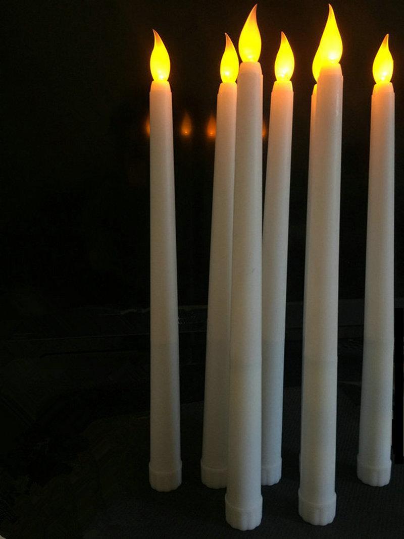 Großhandel 11 Led Batteriebetriebene Flackern Flammenlose Elfenbein Taper  Kerze Lampen Stick Kerze Weihnachten Hochzeit Tisch Zimmer Kirche Dekor 28  Cm H ...