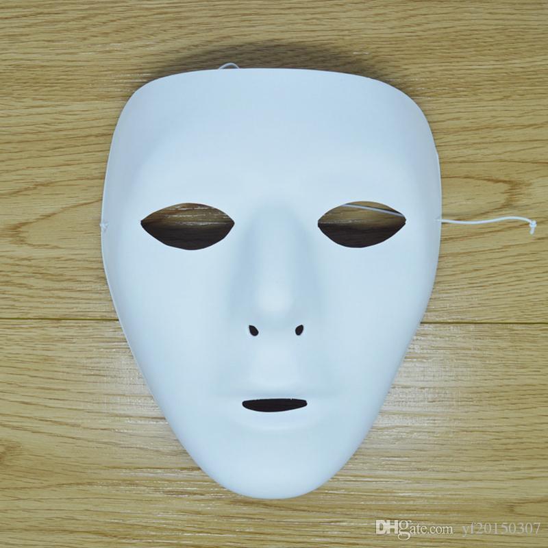 Satın Al El Boyama Diy Düz Beyaz Maskeleri Kadın Erkek Kalınlaşmak