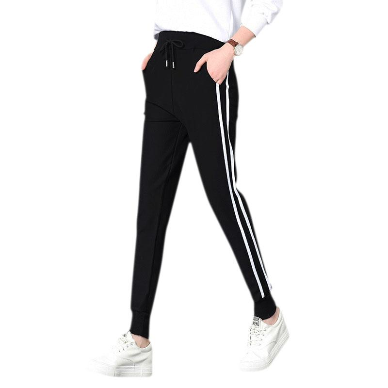 fashion style of 2019 best sneakers large discount 2018 Top Fashion Women Leather Striped Harem Pants Women Black Casual High  Waist Pants Drawstring Loose Trousers Pantalon Femme