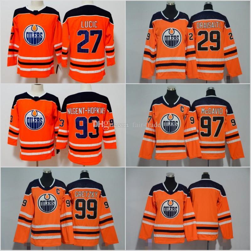 61fbbd7eb 2019 Men Women Youth Edmonton Oilers 2018 Hockey 99 Wayne Gretzky 97 Connor  McDavid 29 Leon Draisaitl 27 Milan Lucic 93 Ryan Nugent Hopkins From Fair  Trade