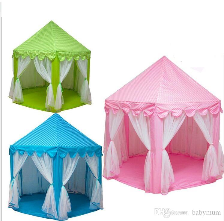 Poartable folded Kids Play Tents toys garden outdoor Princess castle with mosquito net kids beach lawn Tents toy Children Indoor Game House