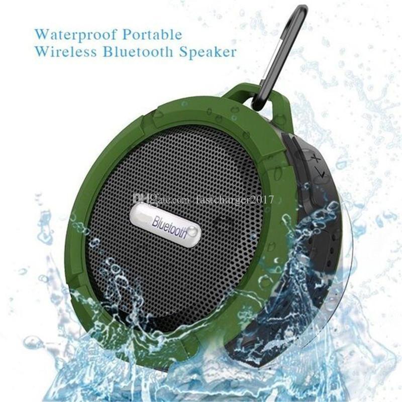 C6 휴대용 방수 무선 블루투스 스피커 흡입 컵 핸즈프리 음성 상자 아이폰 6 7 8 삼성 PC 용