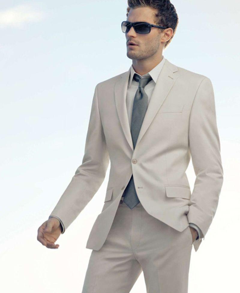 351cbc9094d Custom Made Men Suits 2018 Summer Ivory Men Tuxedo Formal Smart Casual Slim  Fit Business Tuxedos Wedding Suits For Men Best Man Jacket+Pants Wedding  Suit ...