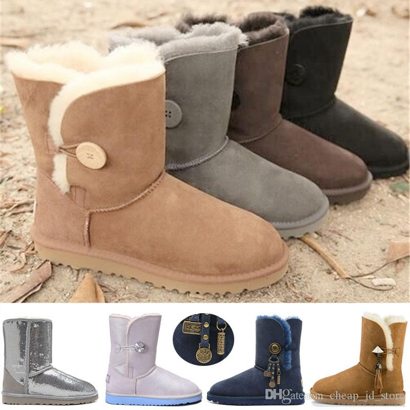 17eece4e39e 2019 Crystal Button WGG Women Boots Australia Bailey Snow Boot ...