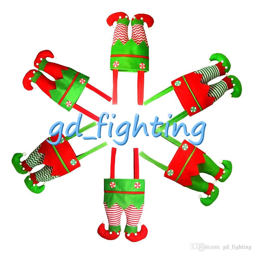 Elf Stockings Large Christmas Stockings Santa Elf Pants Candy Bags ...