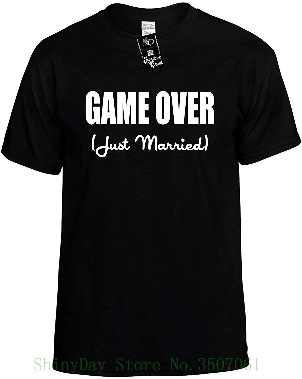 b10bd68652 Unisex T Shirt Game Over Just Married Wedding Bridal Party Novelty Shirt  Print T Shirt Men Summer Irish T Shirts Art T Shirts From Shinydaystore, ...