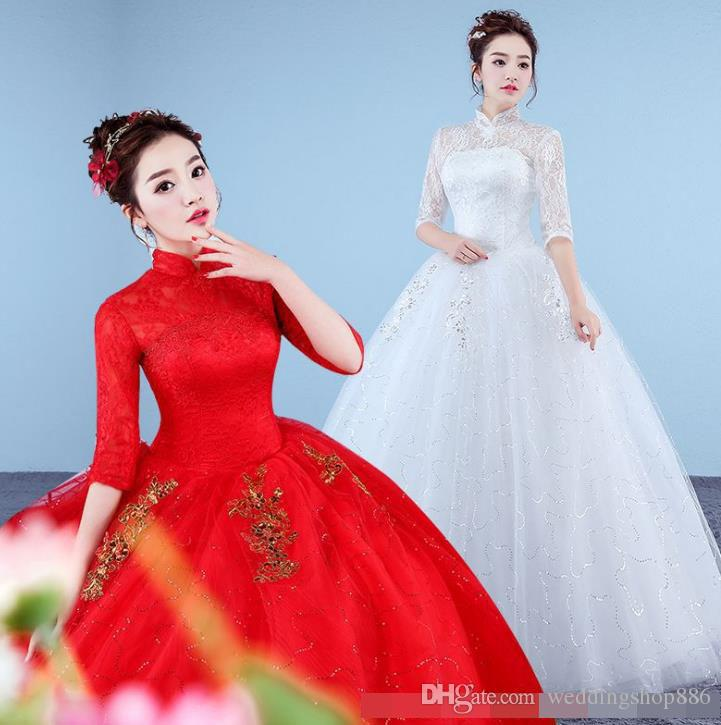 beach wedding dress 2018 Ball Gown Lace Tulle Red Ivory Three Quarter Wedding Dress Chinese Style Cheap China Bridal ball Gown Online Store
