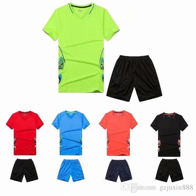 220758cf5af 2019 2018 Best Quality Solid Color DIY Men Soccer Sets Of Soccer ...