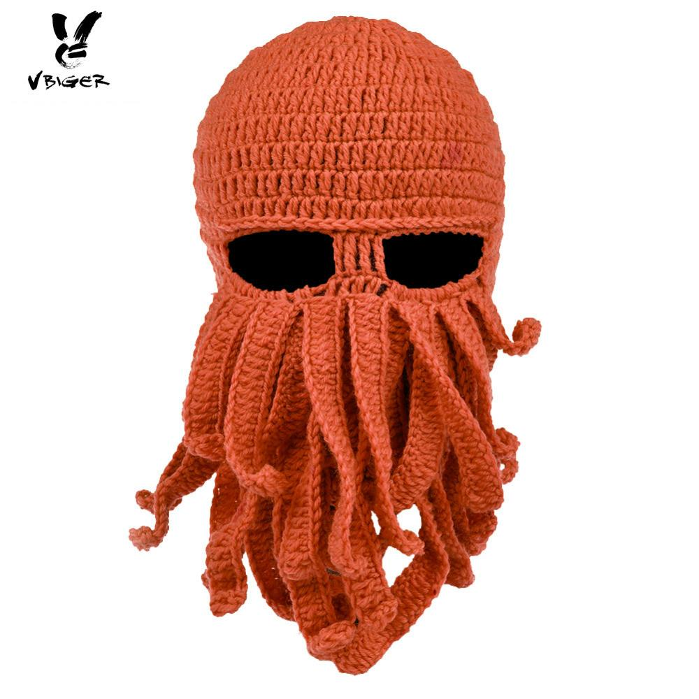 616c29c8595 VBIGER Octopus Knit Beanies Hat Cap Winter Warm Windproof Ski Face Mask  With Tentacles For Men Women UK 2019 From Teawulong