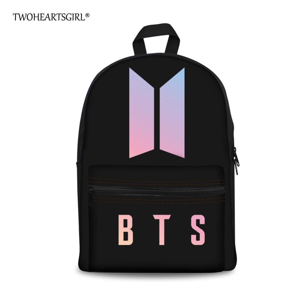 Twoheartsgirl Black Canvas Letter BTS Backpack For Teenage Girls Kpop  Student Boys Kids Bagpack Trendy Fashion Women Bookbags Backpack Brands  Rucksack ...
