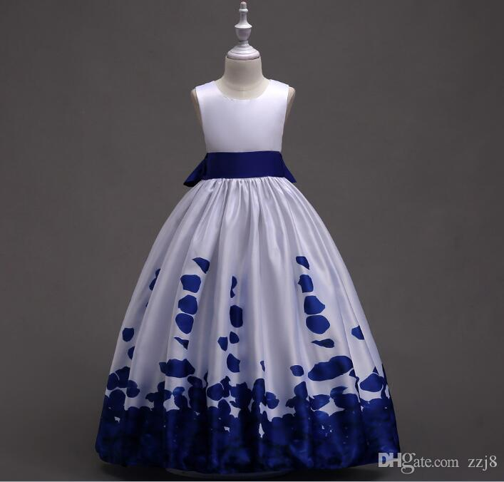 Children Girls Evening Party Dresses Pure Color Print Bottom Gown Styles Wedding Dresses for Kids age 3-14 years old