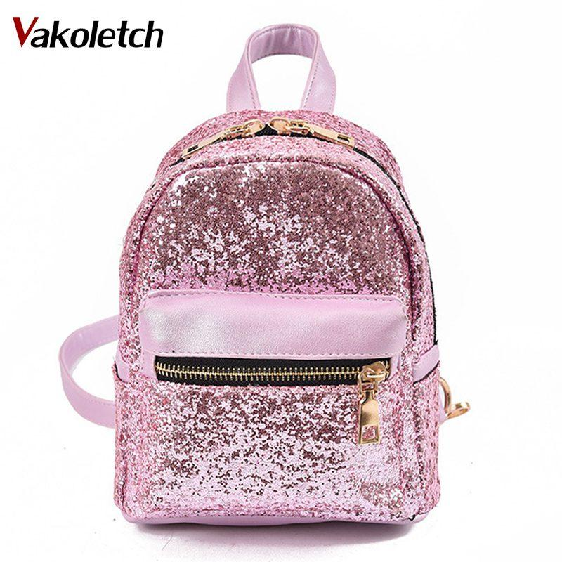 078addbbb4 2018 Women S Sequins Pu Leather Backpack Children Backpacks Mini Bag  Fashion Small Back Pack School Bag For Teenage Girls KL169 Herschel  Backpacks Best ...