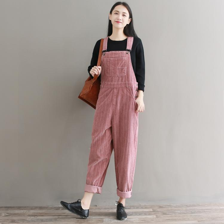 ede8be332c 2019 Women Vintage Striped Corduroy Cotton Jumpsuits Spring Autumn Casual  Loose Strap Rompers Thick Warm Pocket Loose Overalls Romper From Vickay