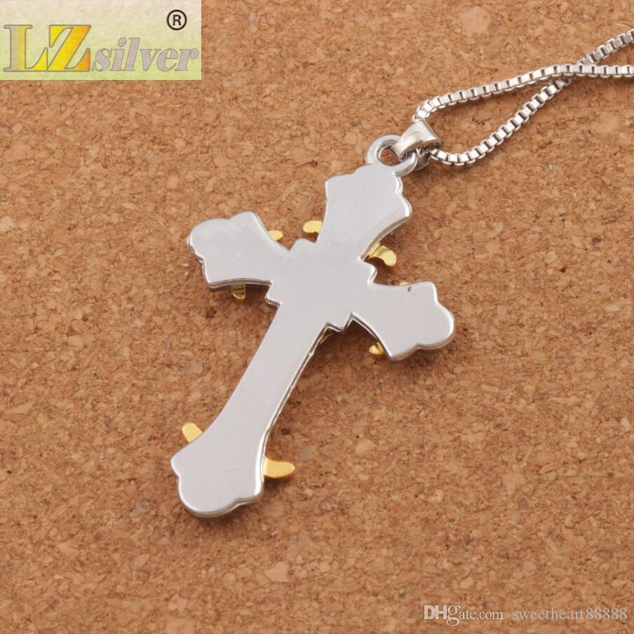 Black Gold color Crucifix Bible Prayer Cross Pendant Men Necklace Chain 24inches N1785 Hot sell Jewelry