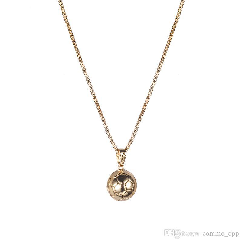 Мода творческий баскетбол футбол Футбол кулон ожерелье GoldSilver позолоченные спортивные ожерелья для женщин Мужчин s любителей ювелирных изделий