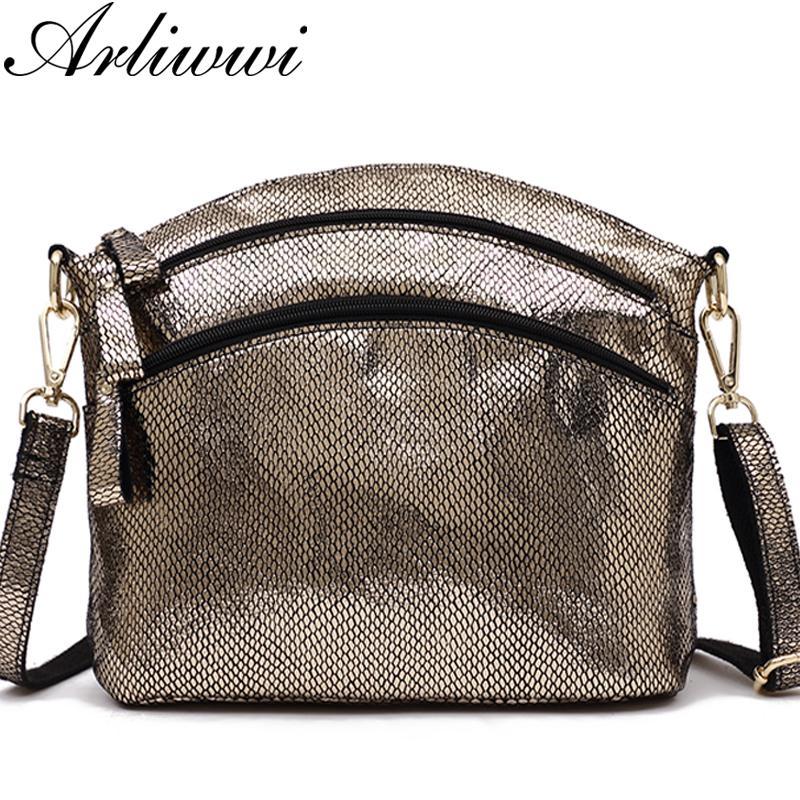 Arliwwi High Quality Real Soft Leather Black Gold And Silver Women  Messenger Bags Lady Shiny Genuine Cowhide Cross Body Handbags Black Leather  Handbags Cute ... b16acd4dd5