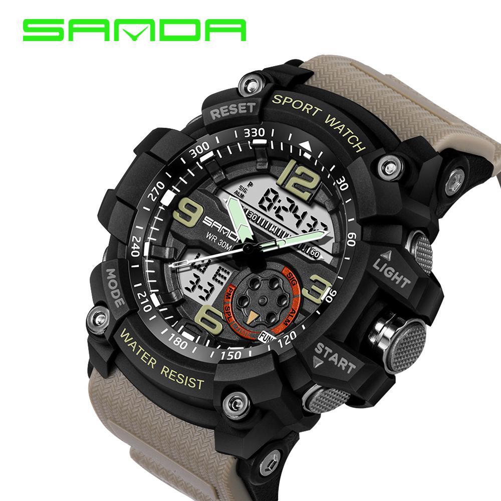 17e02588b Compre Sanda Marca De Luxo Homens Esporte Digital Led Relógio G Militar  Multifuncional Relógio De Pulso De Choque 5atm Relogio À Prova D  água  Oferta ...