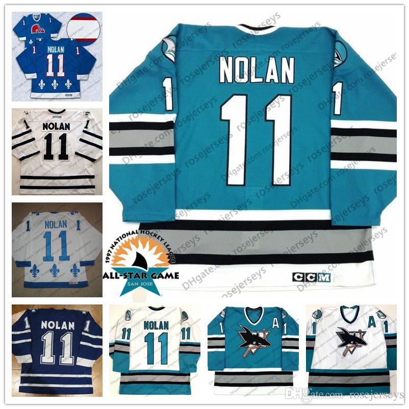 official photos 7c59c dffbb San Jose Sharks #11 Owen Nolan 1997 All Star CCM Vintage Jersey Retro Teal  Green White Quebec Nordiques Toronto Maple Leafs Blue S-4XL