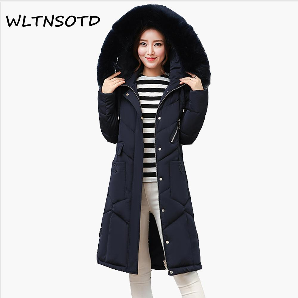 cb4514ab3d97 2019 2017 Real Full New Winter Cotton Coat Women Long Thick Big Fur Collar  Large Size Loose Jacket Female Fashion Warm Hooded Parkas From Bishops, ...