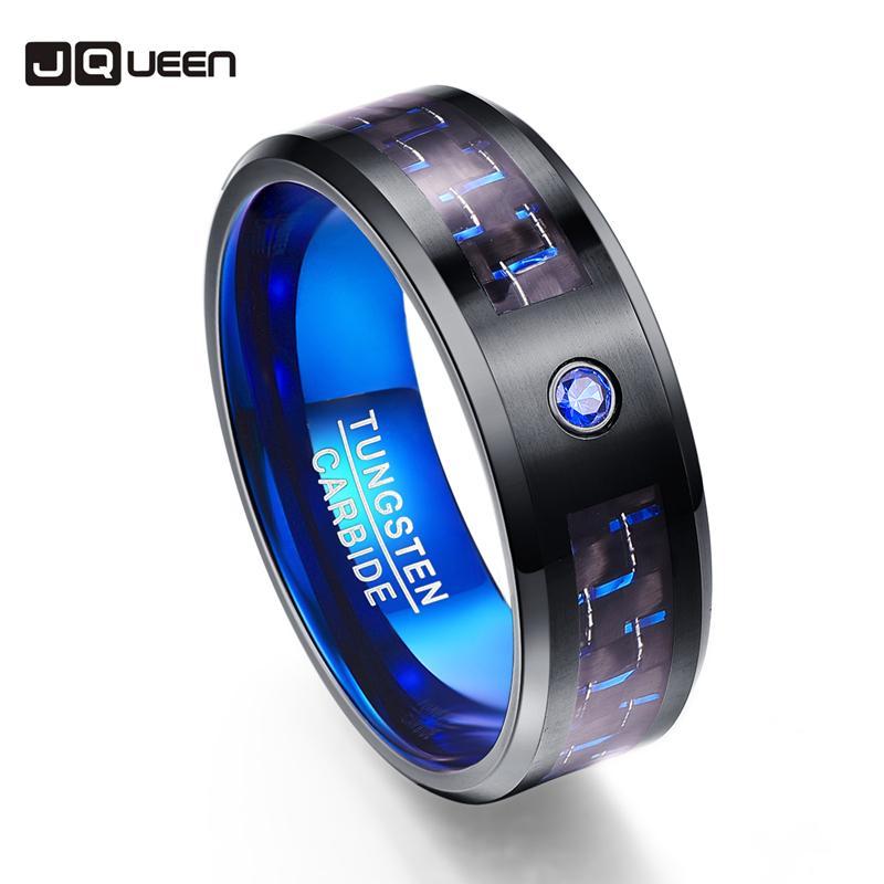 2018 2018 Carbon Fiber Party Ring Blue Zircon Men Rings 100