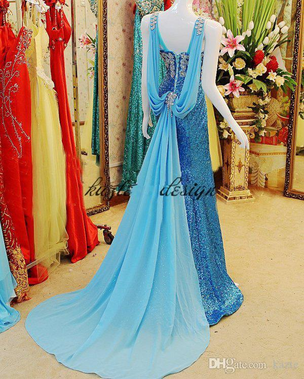 Real Image Blue Sequins Crystal Mermaid Evening Pageant Dresses With Chiffon Ribbon 2018 Sparkly Rhinestone Mermaid Prom Fomral Dress