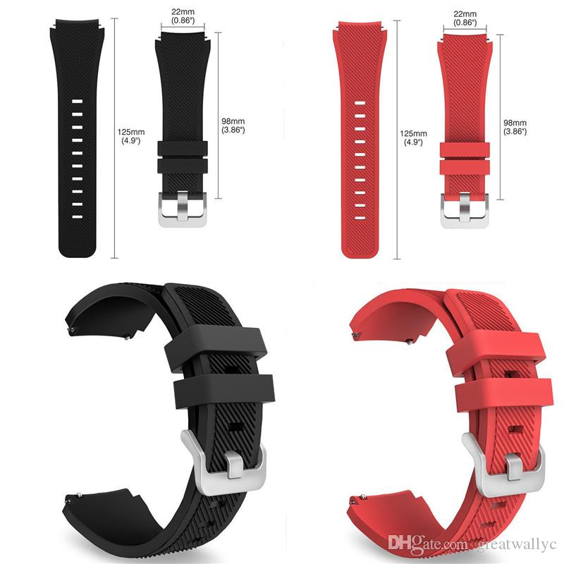 Soft Silicone Man Watch Replacement Bracelet Strap Gear S3 Frontier Classic Watch Band 22mm for Samsung Gear S3