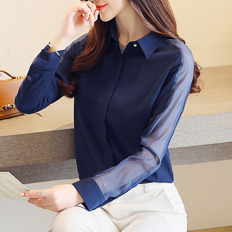 Autumn Long Sleeve Women Blouses Shirts Chiffon Lace Lady Solid Sexy Fashion 2018 New Hollow Blue Tops Women Clothing 0862 30
