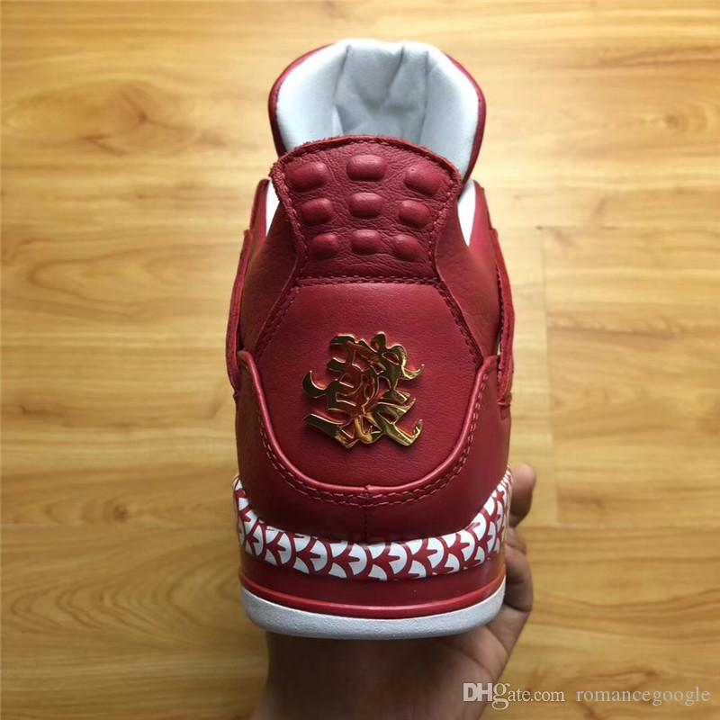 2020 Authentic Air Retro 4 The Remade X 400ml Studio CNY Custom 4S Chinese New Year Basketball Men Joint Limited Shoes Sneakers With Box From