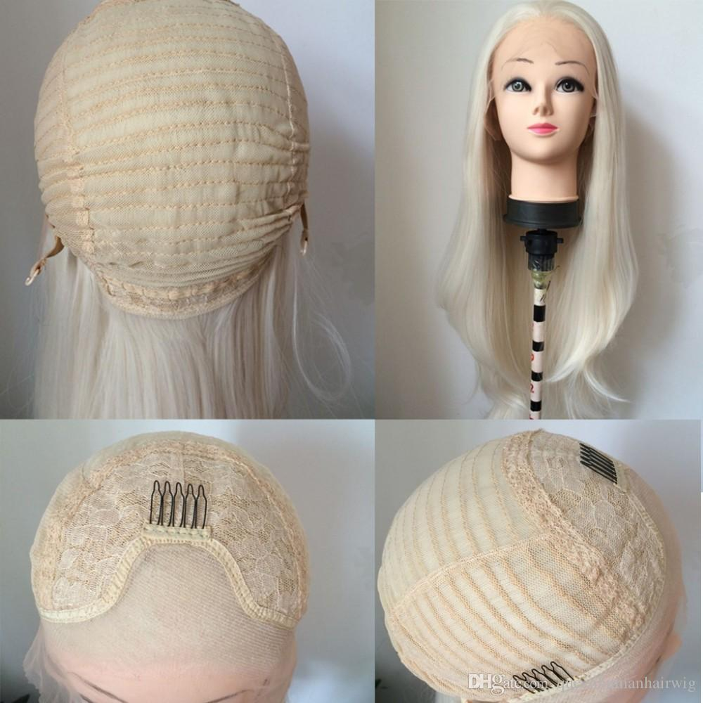 Pastel Blonde Solid Color Hair Synthetic Lace Front Wig 60# Blonde body Wave Long Fully Heat Resistant Fiber Women Wigs