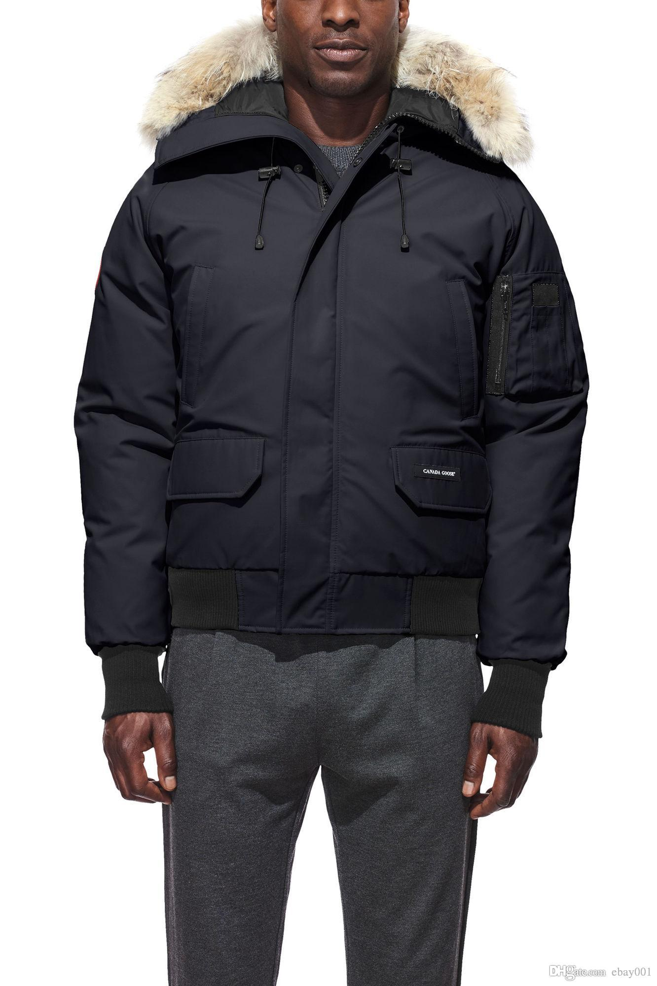 a20c5f1dbd2 2019 2018 Overcoat Mens Winter Warm Coat Goose Chilliwack Bomber Goose Down Jacket  For Men Bomber Parka Real Coyote Fur Black Label For Men From Ebay001