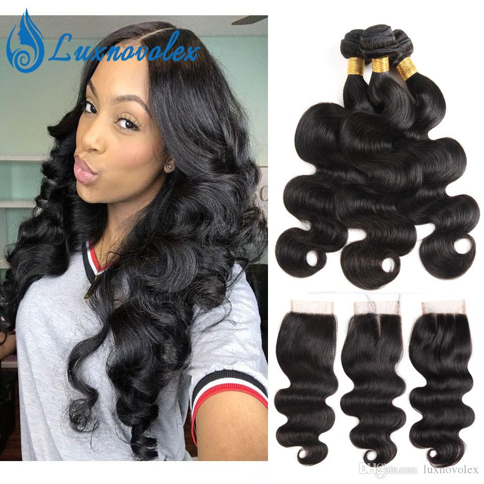 7A Brazilian Body Wave Human Hair Weave Bundles With Lace Closure 100% Virgin Hair Bundles with Closure Natural Color Hair Extensions