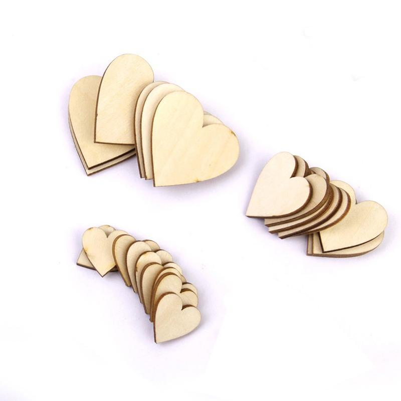 2/3/4cm Wooden Heart For Wedding Party Decoration Valentine's Day Kids Birthday Party Supplies DIY Wedding Guest Book