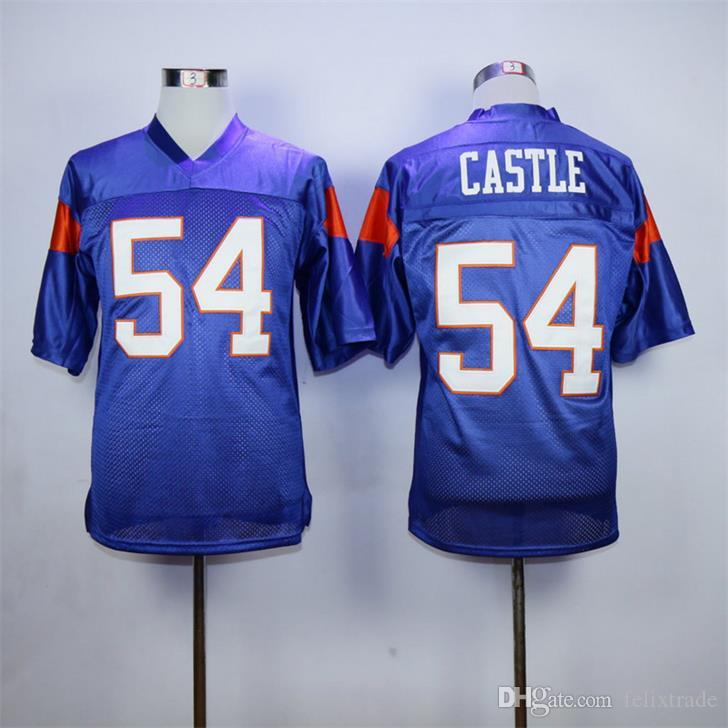 cc1e8375fca Men s Alex Moran 7 Thad Castle 54 Blue Mountain State BMS TV Show Mountain  Goats Football Jersey White Blue Stiched Name   Number   Logos