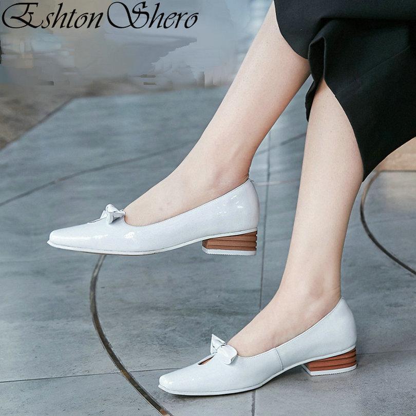 96361c17 Compre EshtonShero Bombas Para Mujer Zapatos Mujer Plataforma De Cuero + PU  Tacones Bajos Punta Estrecha Elegante Para Mujer Zapatos De Boda Tamaño 33  41 A ...