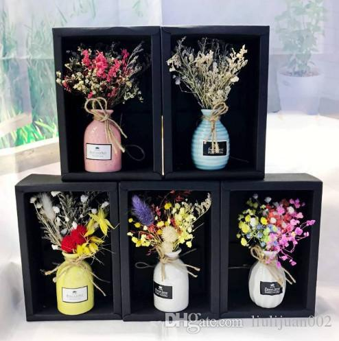 Mini simple Gypsophila dry flower bouquet Gift box packaging valentine's day bouquetWedding party Lover grass dried flower bouquet decorati