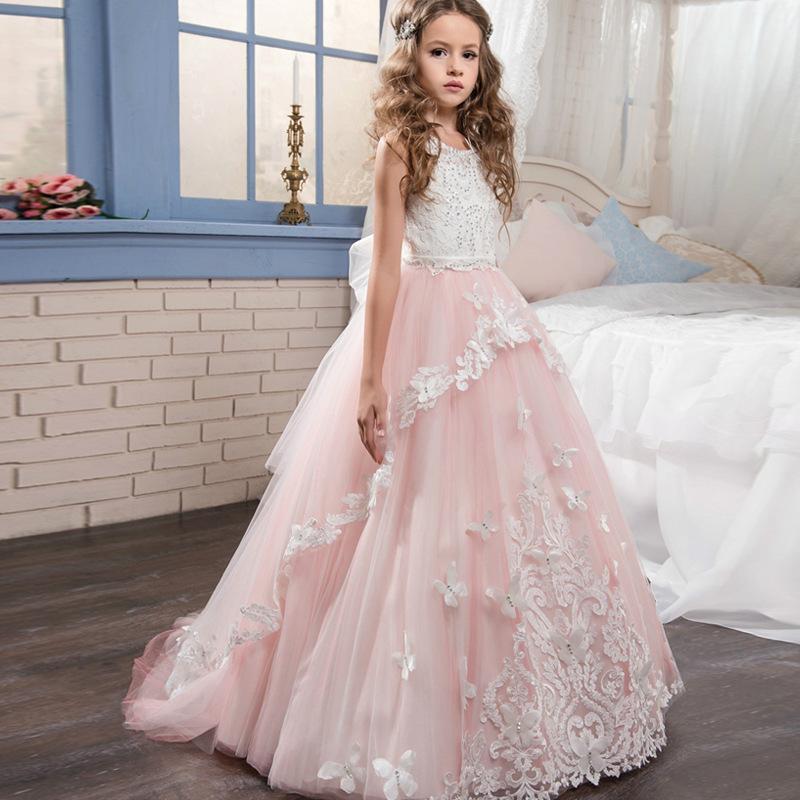 d472baf72 Children's wedding dresses, hot drill, lace and handmade flower nets,  preside on the birthday girl's puffpen skirt