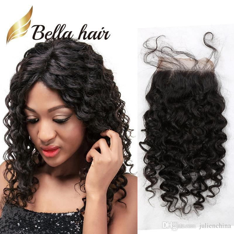 Bella Hair® Pre-Plucked Dantel Kapatma 4 * 4 Üst 10A Sınıf En İyi Kalite İnsan Saç Kıvırcık Dantel Kapatma Saç Uzatma Doğal Renk Ücretsiz Kargo