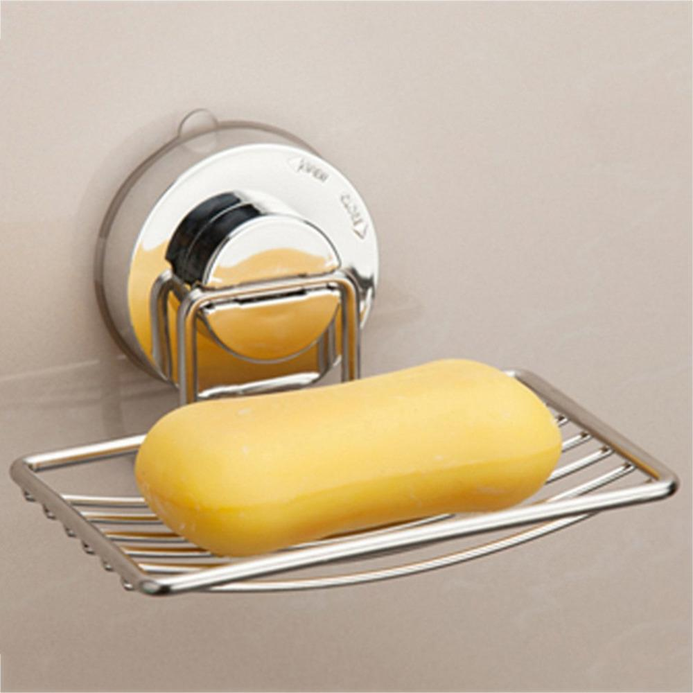 1Pcs Shower Soap Dishes Holder Basket Tray Organizer Bathroom Strong Suction Cup